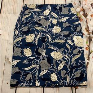 Banana republic blue floral pencil skirt
